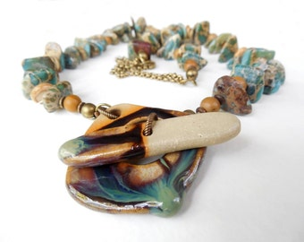 Natural Stone and Ceramic Necklace, Multi Colored, Brass and Front Toggle Closure