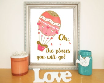 Coral Pink Gold Nursery, Hot Air Balloon Printable, Digital Download Print, Oh the places you will go, Baby Girl Nursery, Nursery Wall Decor