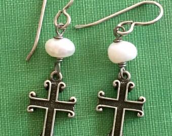 Sterling Silver Genuine Pearl Cross Dangle Earrings 925