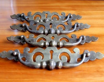 Vintage Brass Drawer Pulls Handles Set of 4 Large Keyhole Hardware