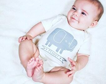 Peanut, elephant baby bodysuit, elephant design, cute baby clothing, organic baby bodysuit, gender neutral, baby elephant gift, baby shower
