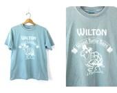 Blue Wilton Wood Turtle Days T Shirt Cotton Pigment Dyed Shirt Souvenir Novelty Tshirt Unisex size Medium Dell's