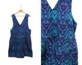 Corduroy Romper Shorts 80s One Piece Bibs Overalls Jumpsuit Pockets Purple Green 1980s Preppy Boho Vintage Womens Medium
