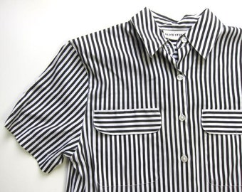80s striped black white shirt button down mod shirt summer button up collared tshirt boho hipster graphic illusion top womens SMALL