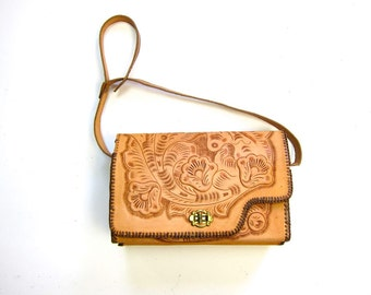 60s tooled leather purse with flowers REVERSIBLE leather shoulder purse shoulder strap purse floral bag boho hippie 1960s boxy purse