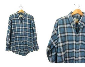 Vintage boyfriend flannel Blue Cotton Plaid Hunting Shirt Long Sleeve Rugged Lumberjack Grunge Shirt Unisex Coed Size Large LL Bean