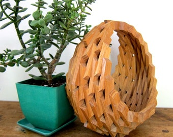 Geometric Wooden Plant Stand Modern Hanging Bent Wood Plant Holder Tramp Art Mid Century Decor Small Fruit Bowl Basket Vintage 60s 70s