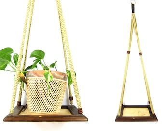 Vintage extra Long large macrame Plant Hanger with shelf tray Brown boho chic Ranch home decor
