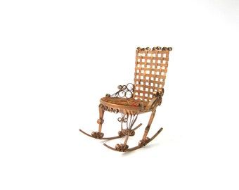 Vintage Folk Tramp Art Tin Can Rocking Chair Naive Aluminun Miniature Chair