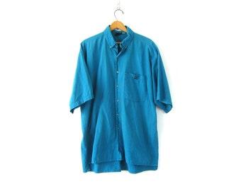 Striped 90s Shirt Blue Oversized Cotton Shirt Mens Shirt Slouchy Button Down High Low Boyfriend Shirt 1990s Preppy Shirt Size Large Tall