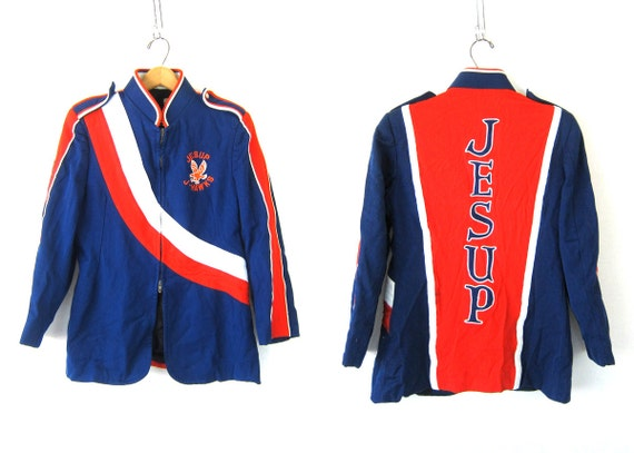 Marching Band Jacket Coat Vintage Blue and Red band Costume Jesup J Hawks Jayhawks Iowa School Coat Zip Up Jakcet Stripes Size 38 R Small