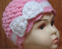 CROCHET PATTERN, Chemo Hat, bow, flower, cap, cancer, beanie, toque, cloche, toddler to adult, skill level intermediate