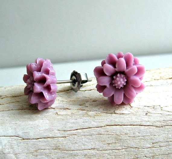 Titanium Earring Posts - Purple Chrysanthemum Flowers - Contains No Nickle - Great For Sensitive Ears
