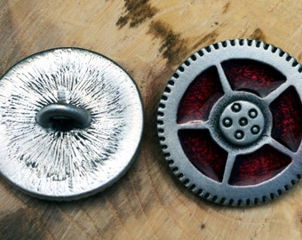Steampunk Gear Pewter Shank Button | Steam Punk Buttons | Vintage Button | Metal Button | 15/16 Inch (24 mm) | by Treasure Cast Pewter