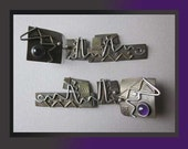 ABSTRACT ART-Maggi Debaecke Post Modern Amethyst/Mixed Metal Dangle Earrings,Vintage Jewelry,Women