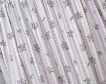 Vintage Curtain Panels * Yardage * Shabby Cottage * FABRIC * Lavender & Grey Stripes * Purple Roses
