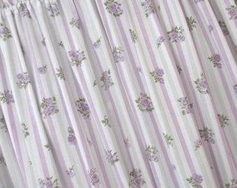 Vintage Curtain Panels * Shabby Cottage * Lavender & Grey Stripes * Purple Roses