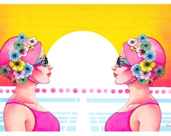 Synchronized Swimmers 80's style illustration Giclee Print 8.5x11
