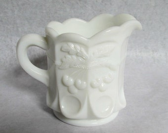 Vintage Westmoreland Milk Glass Cherry Panel Cherry Cable Creamer