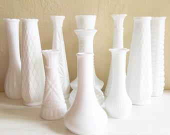 Instant Collection of White Milk Glass Bud Vases Unique 11 Eleven - No duplicates