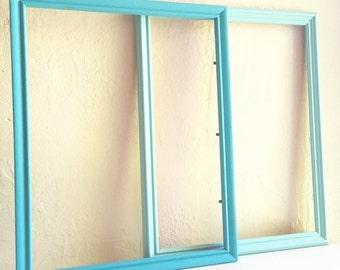 Pair of Large Turquoise Blue Teal Aqua Light Dark Wooden Picture Frames 11x14 Inches 2 Two