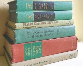 Set of 6 Vintage Books for Home Decor in Greens Earth Tones