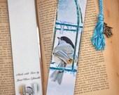 Chilly Chickadee Wild Bird at Feeder Bookmark w/ Birdhouse Charm Fine Art Photography Photo Laminated Bookmark