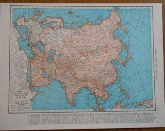 Vintage Map of Asia, 1947 original Atlas Map, Old maps as art