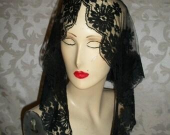 Vintage Black Lace Veil Scarf Wrap