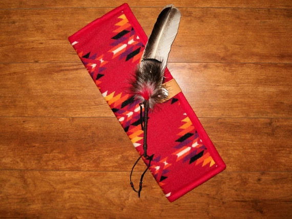 Feather Holder / Feather Case Wool Bright Red