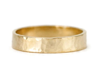 Solid 14K Yellow Gold Wedding Ring, 4 x 1.5mm Hammered Gold Wedding Band - Yellow, White or Rose Gold