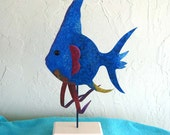 Metal sculpture art Large fish on stand Table top marine home decor beach house coastal art
