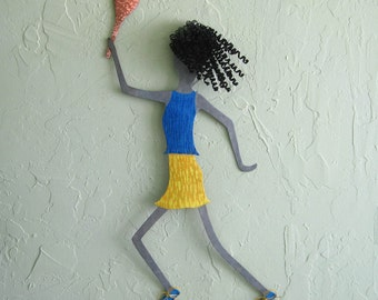 Metal wall art sports decor -Tennis Gal - made to order upcycled metal wall sculpture