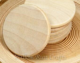 "25 Pack 1 1/2"" Wood Circle Disc Round Edge Wood Circles (23-20-170)"