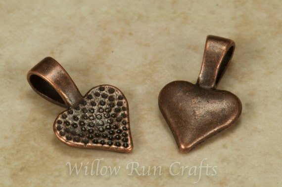 100 Small Antique Copper Heart Bails, Necklace Bails (07-06-320)