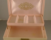 Vintage Retro 1950s Pink Faux Leather Jewelry Box with Gold Trim and Pink Satin Interior