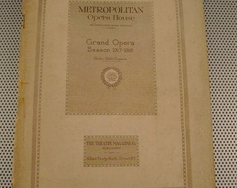 Antique Metropolitan Opera House New York Grand Opera Season 1917-1918 Program, Great Ads