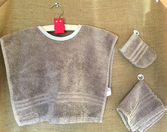 Montessori Apron Set in Light Brown Terrycloth (for Practical Life and Water Activities)