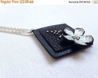 """50% OFF SALE Silver color floral leather pendant Statement necklace Flower Leather Jewelry """"Nature inspired"""" collection"""