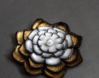 50% OFF SALE Jewelry supplies. Handmade LARGE leather Lilly flower for crafts and jewelry making