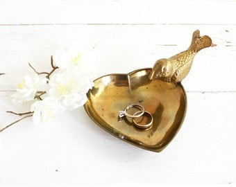 Vintage Golden Brass Bird and Heart Trinket Dish / Mid Century Brass Dish