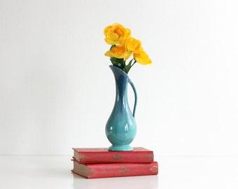Vintage Mid Century Modern Blue Ombre Drip Glaze Vase