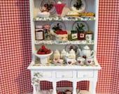 Dollhouse  Strawberry Hutch Hutch Miniature hutch strawberry hutch Strawberry themed.   Twelfh scale dollhouse miniature