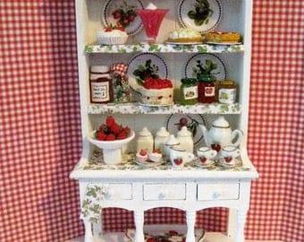 Dollhouse  Strawberry Hutch, Hutch, Miniature hutch, strawberry hutch, Strawberry themed.   Twelfh scale dollhouse miniature