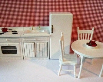 Dollhouse kitchen, All white kitchen, blue and white kitchen, miniature kitchen,kitchen, kitchen table, chairs,  twelfth  scale.