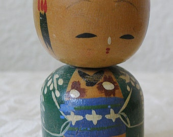 Kokeshi Doll..Single..Painted Wood..Japan