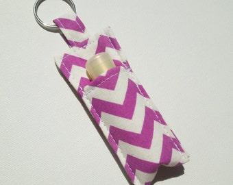 Chapstick Keychain,Lip Balm Key chain,Chapstick Holder,keychain,Lipbalm cover pouch,lipstick pouch Keychain - Purple chevron