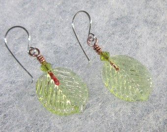 Pale Green Transparent Leaf Lampwork Earrings with Sterling Silver - UK - SRA