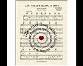 Can't Help Falling In Love Sheet Music Art Print, Elvis Presley, Mr. and Mrs., Spiral Lyric, First Dance, Custom Wedding and Anniversary