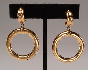 Retro 18kt Gold Clip Style Hoop EARRINGS:  12 grams